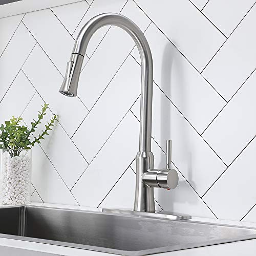 Casilvon Best Commercial Brushed Nickel Pull Down Kitchen Faucet,Stainless Steel Single Handle Pull Out Sink Faucets with Deck Plate