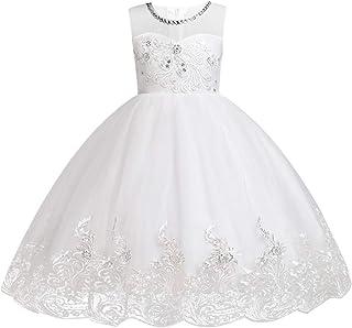 IBTOM CASTLE Little Big Girls Lace Flower Wedding Short Ball Gown Pageant Party Formal Embroidery Princess Dance Evening Dress