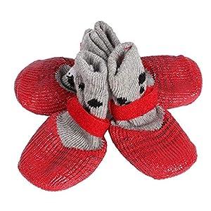 4pcs chaussettes respirantes pour chiens chaussettes antidérapantes pour chaussures chaussures d'intérieur réglables pour chien en coton mélangé protecteur de patte avec magie autocollants sangles