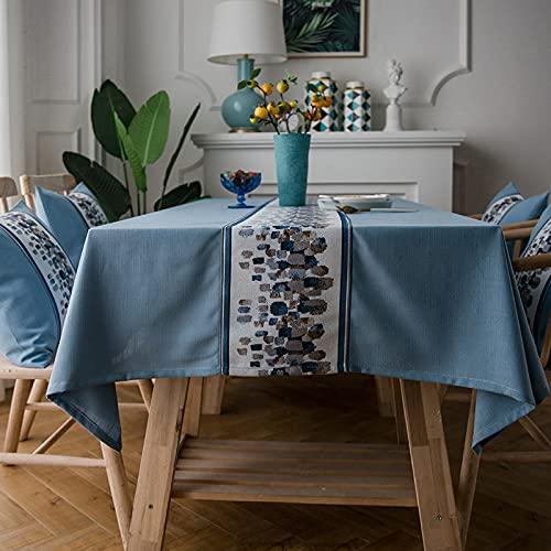 LIUJIU Mantel de algodón y lino con borlas, color sólido, a prueba de polvo, a prueba de encogimiento, para cocina, comedor, picnic, decoración de mesa, 130 x 180 cm
