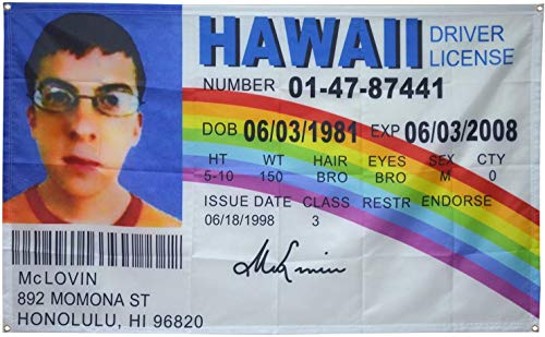 McLovin ID Flag Fake Driver License Flag,3x5 Feet Banner Funny Poster UV Resistance Fading & Durable Man Cave Wall Flag with Brass Grommets for College Dorm Room Decor,Outdoor,Parties,Gift,Tailgates