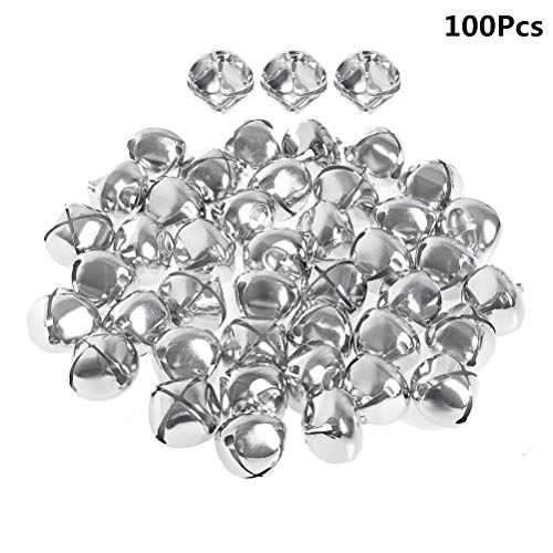 Jrancc Kleine belletjes decoratie belletje zilver 18 mm 100 stuks mini klokken voor kerstdecoratie sieraden maken