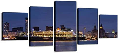 Queen Mary 2 Wall Decoration Print Photo on Canvas Modern Photography Home Decor Modern Canvas Painting Wall Art 5 Piece