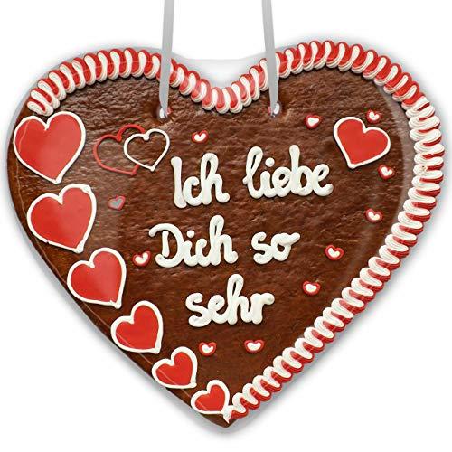 Lebkuchenherz 50cm mit Spruch - Ich liebe Dich so sehr | Valentinsgeschenke für sie & ihn | Riesen Lebkuchenherz mit Liebesbeweis Sprüche | Lebkuchen Herz online kaufen von LEBKUCHEN WELT