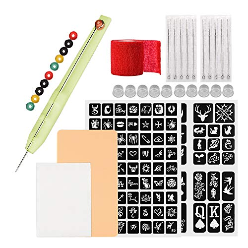 ATOMUS Hand Poke and Stick Tattoo Kit DIY Tattoo Poke Pen Set with Tattoo Stencil Pattern Practice Skin Tattoo Ink Cups 3RL 5RL Tattoo Needles Bandages Tattoo Grommets