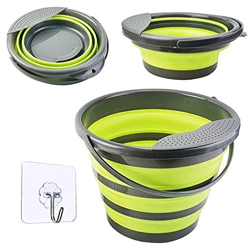 Falteimer 10L Faltbarer Eimer Silikon Runde Wassereimer Putzeimer Bucket Für Camping Wohnmobil Wohnwagen Küchen Angeln Boot Zubehör - Grün
