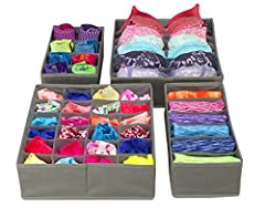 4-PIECE FOLDABLE ORGANIZER SET (GRAY) – Provides attractive, lightweight solution to many personal storage needs – Neatly store and classify underwear, socks, neck ties, bra, etc. INCLUDES – 4 multi-sectional organizer bins that can be used for a var...