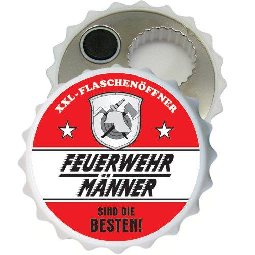 Großer XXL Flaschenöffner Kapselöffner Flaschenöffner Bier Öffner sehr robust mit Hochglanz Etikett für Männer Männergeschenke Verschiedene Anlässe (Feuerwehr Männer im Einsatz 32039)