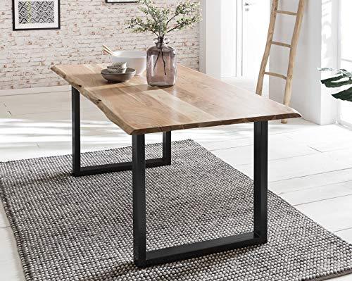 Baumkanten-Tisch Salito 120x80 cm | Esszimmertisch aus massiver Akazie | Baum-Tisch Natur | Metall U-Gestell in Schwarz