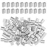 100 Piezas Virolas de Aluminio, Manguito de Bucle de Aluminio, Mangas de Aluminio Clip de Un Solo Agujero Ovalado para Cable de 2 MM de Diámetr