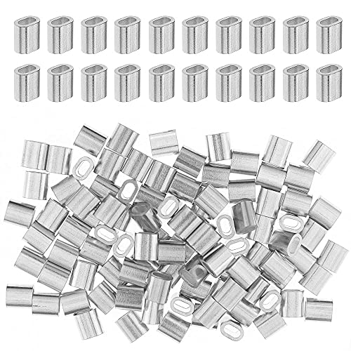 100 Piezas Virolas de Aluminio, Manguito de Bucle de Aluminio, Mangas de...