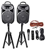 Rockville RPG082K Dual 8' Powered PA System Speakers/Bluetooth+Mic+Stands+Cables
