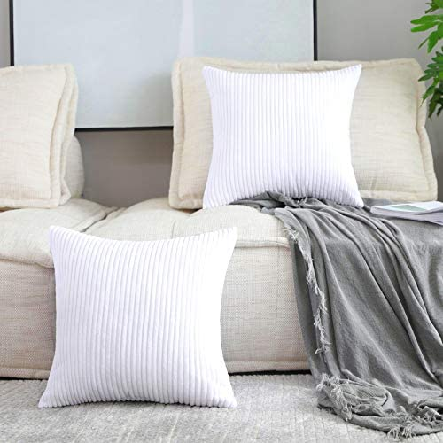 Home Brilliant Set of 2 Decorative Pillows for Couch Pillow Protectors for Sofa Stripes Velvet product image