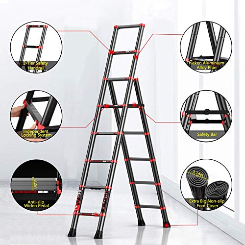 NSdirect Telescopic Ladder Aluminum Telescoping A Frame Ladder Extension Multi-Purpose Extendable Folding Ladder with Detachable Tool Tray, Safety-Lock 330Lbs and Anti-Slip