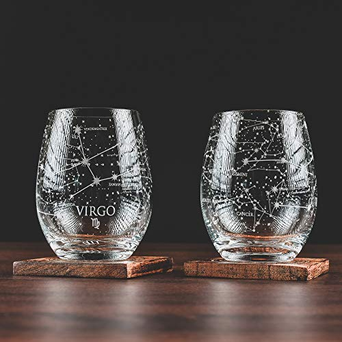 Greenline Goods Virgo Stemless Wine Glasses | Zodiac Virgo Set | Hand Etched 15 oz (Set of 2) - Astrology Sign Glassware