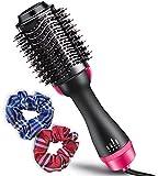 Cepillo de Aire Caliente Multifunción con Iones. Secador, Alisador, Rizador, anti Encrespamiento + 2 Gomas del pelo de tela
