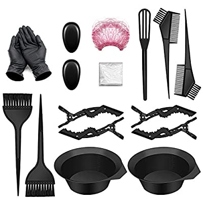17 PCS Hair Coloring Dyeing Kit, Include Hair Tinting Bowl/Dye Brush/Mixing Spoon/Shower Cap/Ear Cover/Gloves Hair Dye Tools for Hair Coloring Bleaching DIY Salon & Home (17PCS)