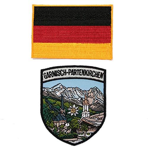 A-ONE Garmisch-Partenkirchen Aufnäher + Deutschland-Flagge, zum Aufbügeln & Nähen von Pulten, Mänteln, Jeans, 2 Stück