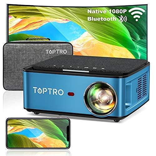 TOPTRO Mini Beamer, WiFi Bluetooth Beamer Projektor,