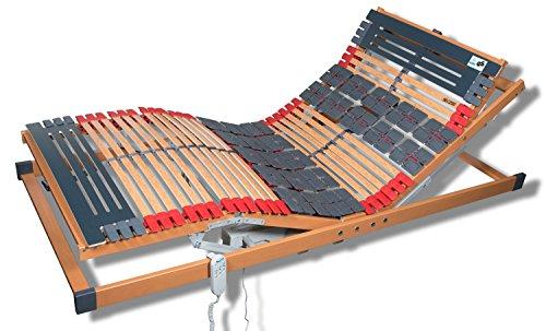 FMP Matratzenmanufaktur 7 Zonen Teller Lattenrost Rhodos EL Komfort - Kopf- und Fußteil elektrisch verstellbar 2 Tellerzonen Lattenroste Funkfernbedienung 90x200 cm