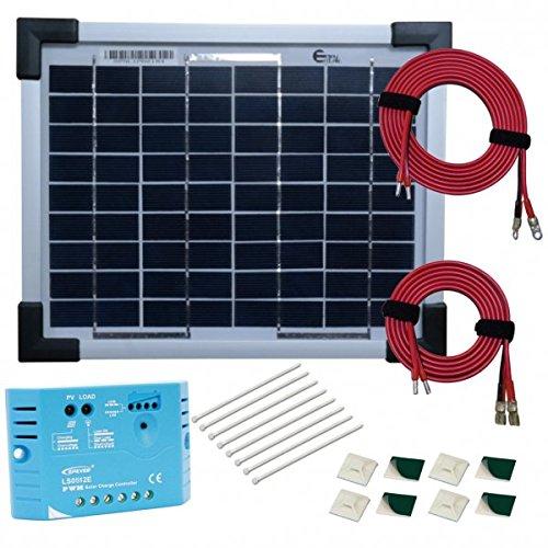 Kit panneau solaire monocristallin 5W 12V avec régulateur 5A et accessoires de câblage