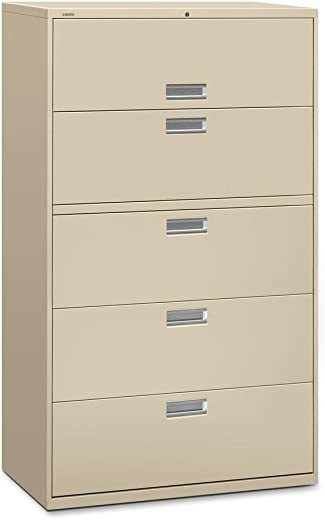 B00006ICZ4✅HON Brigade 600 Series Lateral File, 5 Drawers, 67″H x 42″W x 19-1/4″D, Putty