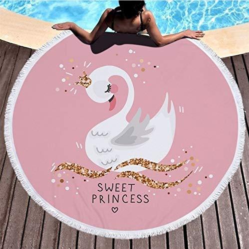 Vanzelu Elegante Zwaan Zomer Strand Handdoek Zwemmen Spa Badhanddoek Absorberende Microvezel 150x150cm Picknick Bank Gooi Deken Mat Tapestry Picknick Mat