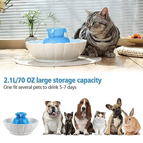 iPettie Tritone Ceramic Pet Drinking Fountain Ultra Quiet, Way Better Than Plastic, Water Fountains for Cats and Dogs 2.1 Liters Pet Water Dispenser with Replacement Filters and Foam, Color Blue