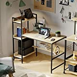 Bestier Computer Desk with Storage Shelves 47 Inch, Headphone Hook Reversible Bookshelf (Oak)