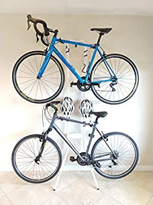 Insight Indoor Gravity Bike Rack (White)- for Up to 2 Bicycles - No Installation, Nails, or Hole Drilling Needed