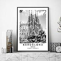 バルセロナ風景壁アートパネルスペイン黒白キャンバス絵画インテリア旅行風景ポスター都市座標写真北欧版画リビング ルーム部屋モダン装飾画