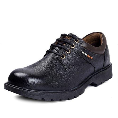 Bacca Bucci Men's Black Leather Steel Toe Cap Lace up Combat Boots 11