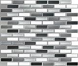 Peel and Impress - Easy DIY Peel and Stick Adhesive Backsplash Tiles, 24038 Glass Urban, Oblong, 11'...