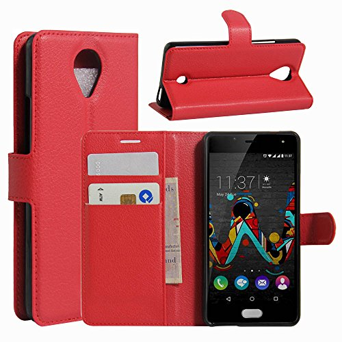 Tasche für Wiko U Feel Hülle, Ycloud PU Ledertasche Flip Cover Wallet Hülle Handyhülle mit Stand Function Credit Card Slots Bookstyle Purse Design rote