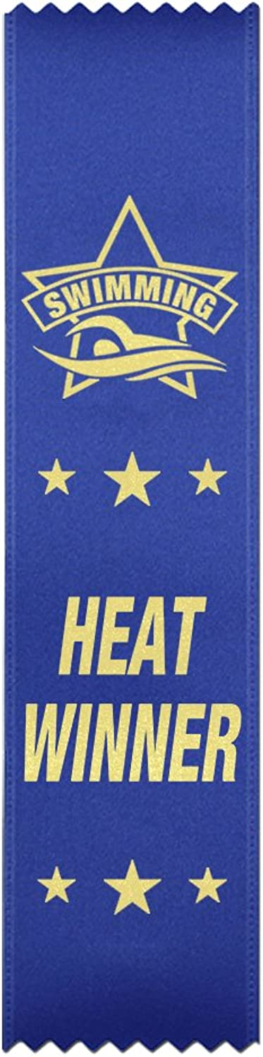 Heat Winner Swimming Award Ribbons  50 Count Bundle  Made in The USA