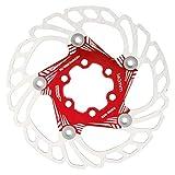 Pastiglie per Freni a Disco per Bici, Dischi per Freni a Disco per Biciclette da Mountain Bike Rotori di Raffreddamento flottanti 5 perni 140mm Accessori per Ciclismo(Rosso)