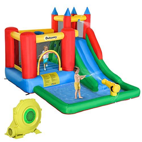 Outsunny Aufblasbare Hüpfburg mit Rutsche Wasserkanone für 4 Kinder Springburg mit Gebläse für 3-12 Jahre Kindergarten Oxford-, Polyester-Gewebe Mehrfarbig 350cm x 270cm x 215cm