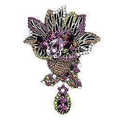 Purple Vintage Rhinestone Flower Pin Crystal Brooch