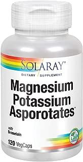 Solaray Magnesium and Potassium Asporotates w/ Bromelain | Healthy Electrolyte, Muscle, Heart & Cellular Support | 60 Servings | 120 VegCaps