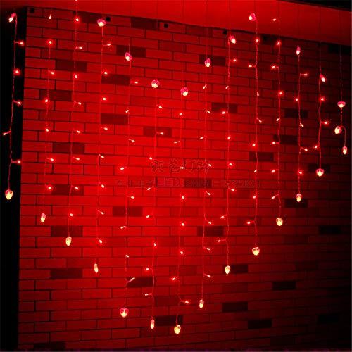 DulceCasa 128 LEDs Coeur Cœur Guirlande Lumineuse Rideau Lumière 8 Modes  d\'Eclairage Rideau Fenêtre 3000K Imperméable Noël Fête Marriage Jardin Deco  ...