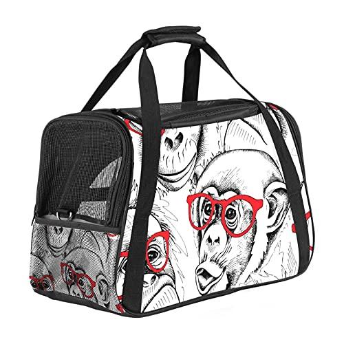 Portador de mascotas con diseño de monos en gafas rojas, transportadores de viaje para gatos, perros y cachorros, cómodo, portátil, plegable, bolsa para mascotas, aprobada por aerolíneas