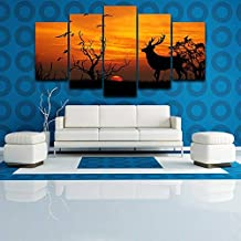 ART Decoration Poster HD Printed Painting 5 Piece/Pieces Deer Nature Sunset Modern Landscape Wall Art Pictures Living Room, Size 2, with Framed