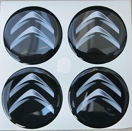 Adhesivos de resina para tapacubos, color negro, efecto resinado 3D, calidad 3M, 4unidades, para tuning, 60mm