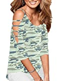 Roshop Women Camouflage Bandage Shirt 3/4 Sleeve Off Shoulder Tunic Tops Blouse(Camouflage, L)