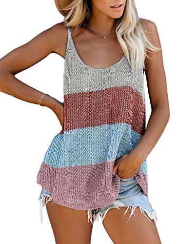 Zecilbo Women's Summer Scoop Neck Knit Cami Tank Tops Loose Sleeveless Blouse Shirts