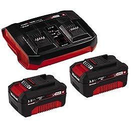 Einhell Starter Kit 2x 3,0Ah Power X-Change et Twincharger Kit (lithium-ion, 18V, 2x 3,0Ah, compatible avec tous les appareils PowerX-Change, système de gestion de batterie proactif)