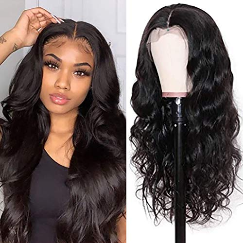 Body Wave Lace Front Wigs Human Hair 150% Density Middle T Part Lace Frontal Wigs Brazilian Virgin Human Hair Lace Front Wigs for Black Women 20inch