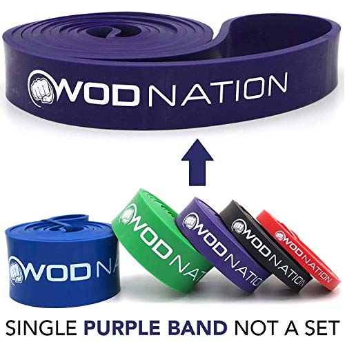 Pull up Assistance Bands by WOD Nation - Best for Pullup Assist, Chin Ups, Resistance Band Exercise, Stretch, Mobility Work & Serious Fitness - Single Band 41 inch Straps| 1 Purple Band