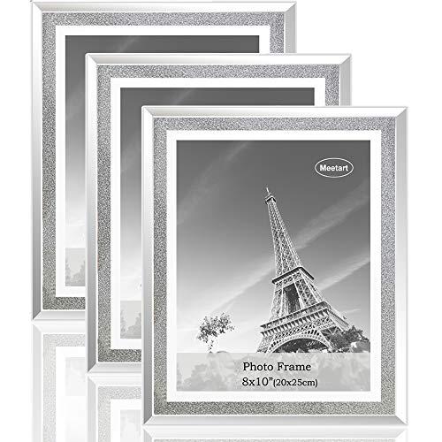 meetart Kristall glänzender silberner Spiegel Glas Fotorahmen Größe 20x25cm, Set mit 3 Fotorahmen. bilderrahmen Glitzer