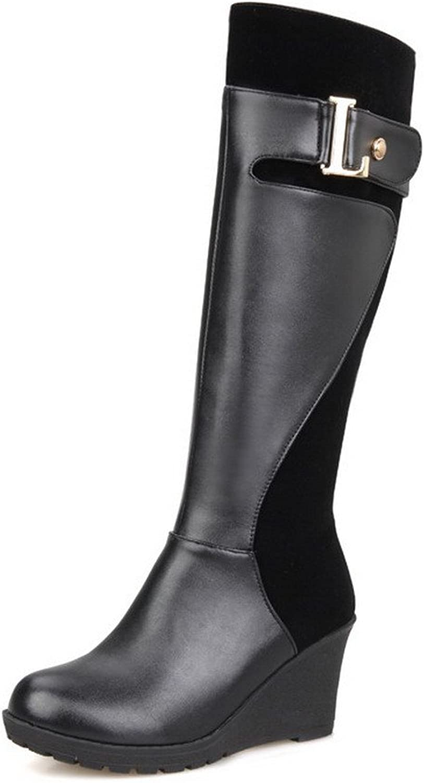 17bf2cc4960c1 WeenFashion Women's Zipper Kitten-Heels Materials Solid High-top ...